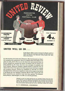 Manchester United v Nottingham Forest League Division One Season 1957-8