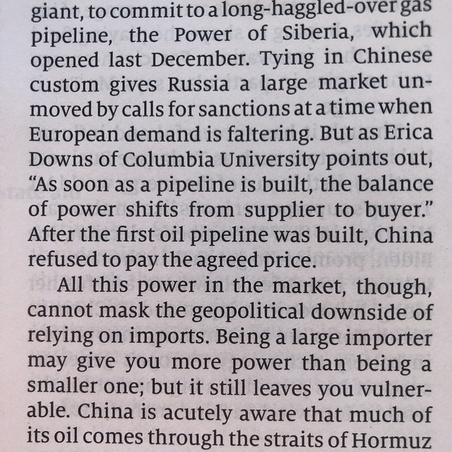 """""""As soon as a pipeline is built, the balance of power shifts from supplier to buyer"""""""