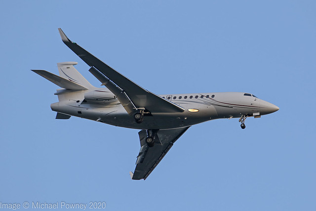 N843S - 2013 build Dassault Falcon 7X, on approach to Runway 23R at Manchester