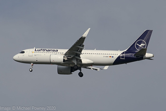 D-AINY - 2020 build Airbus A320-271N, inbound to Manchester, first visit