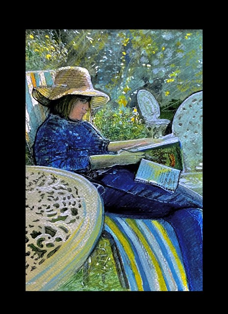 The Wife reading in the garden sunshine. Watercolour painting by jmsw. Just for Fun.
