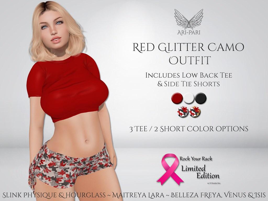 [Ari-Pari] Red Glitter Camo Outfit