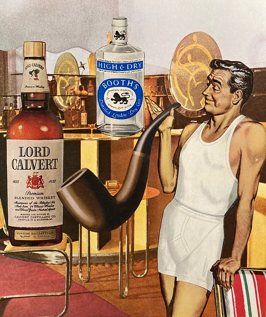 Monumental to Bob's well-being were a well-stocked bar, his favorite pipe and lounging in his undies