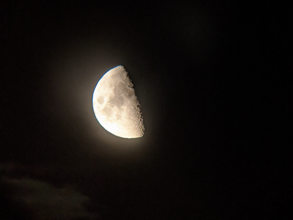 Hazy First Quarter Moon