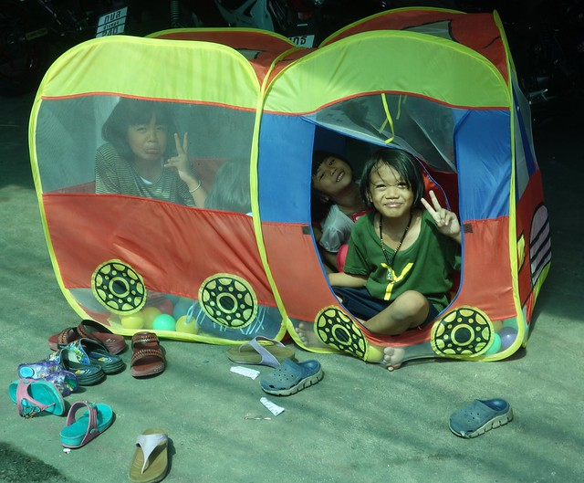girls in a tent