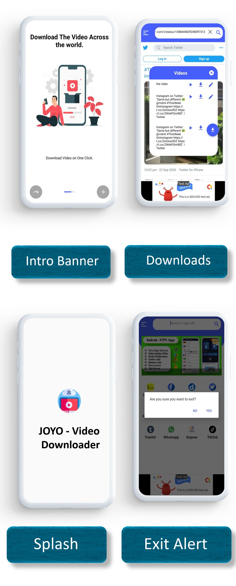 JOYO - Video Downloader App | Facebook Ads | Admob Ads | Slider Banner Image | Push Notification - 5