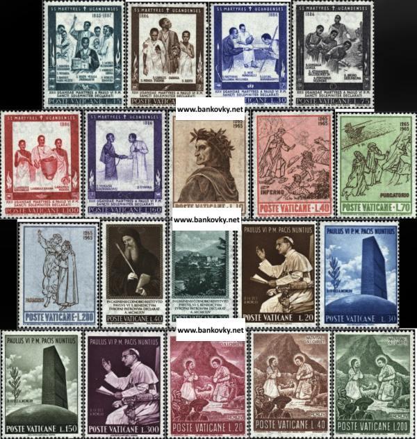 Známky Vatikán 1965, 4 kompletné série MNH