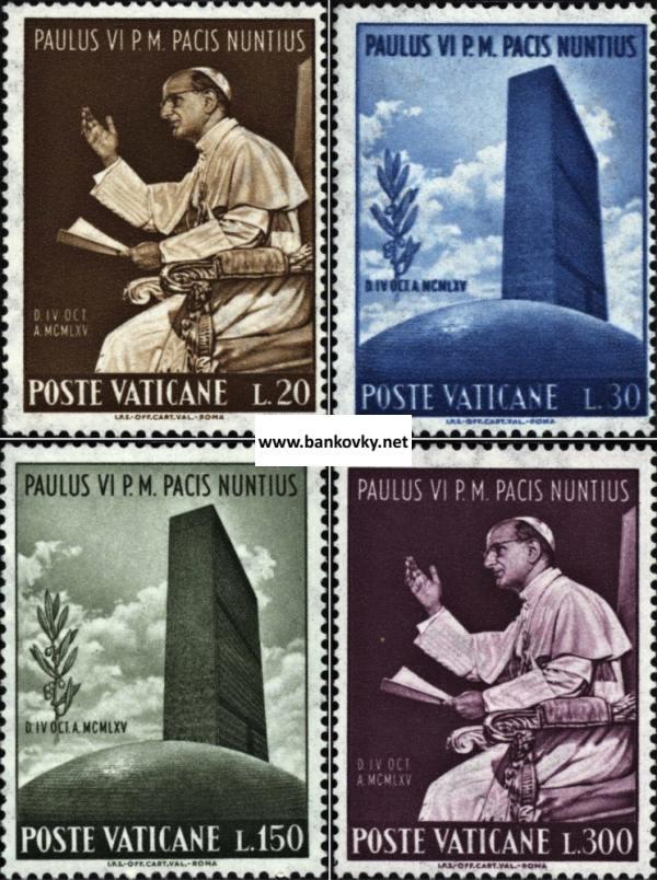 Známky Vatikán 1965 Pavol VI. a OSN séria MNH
