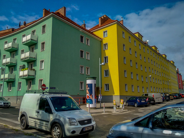 Colorful housing buildings in Vienna City.