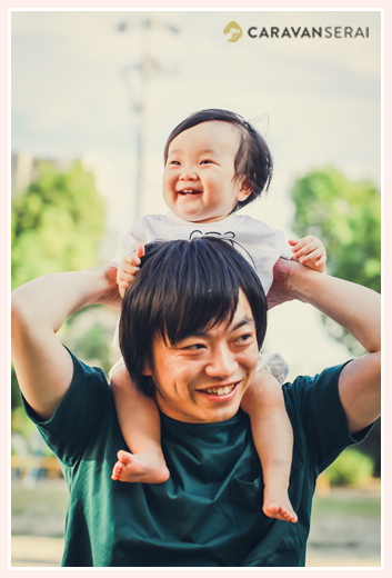 肩車 親子写真 パパと娘