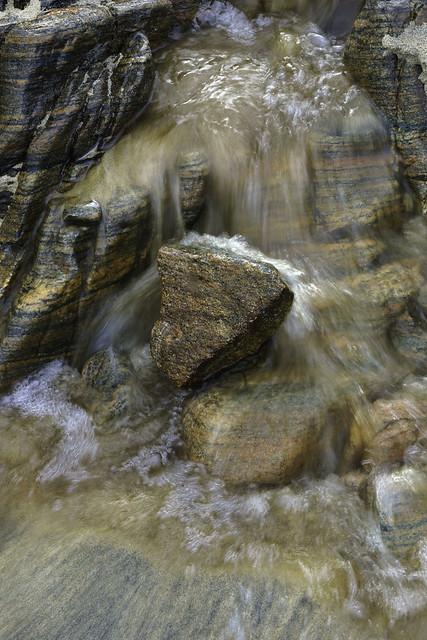 Mini Waterfall  over Stratified Rocks at Traig Mhor Beach - Lewis and Harris 3