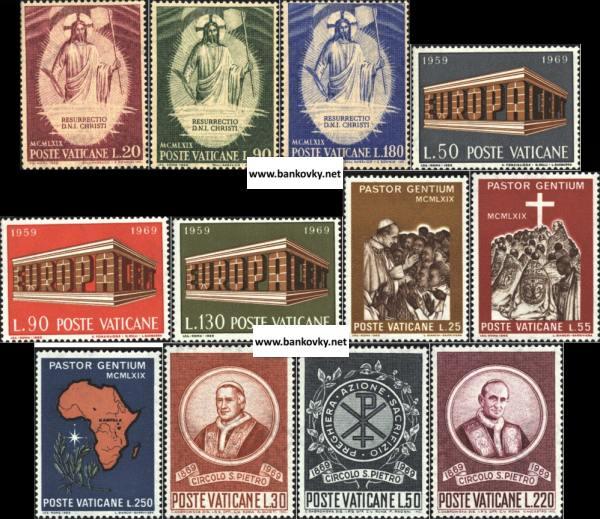 Známky Vatikán 1969, 4 kompletné MNH série