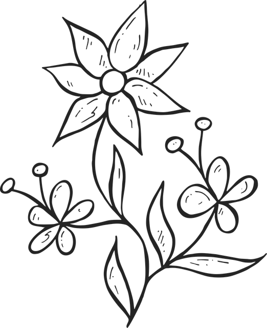 gambar flora bunga agak mudah