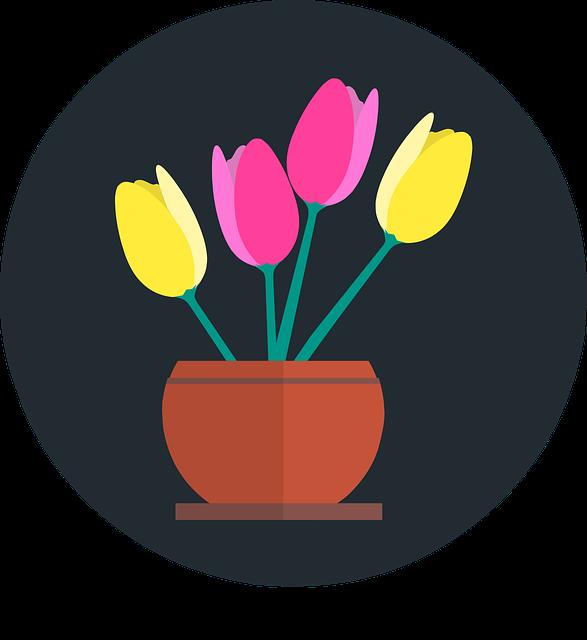 gambar flora dalam pot yang indah