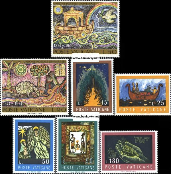 Známky Vatikán 1974 UPU a Biblia kompletné série MNH