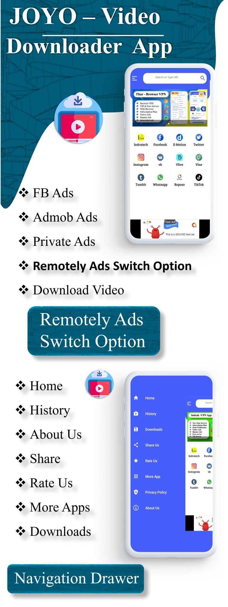 JOYO - Video Downloader App | Facebook Ads | Admob Ads | Slider Banner Image | Push Notification - 4