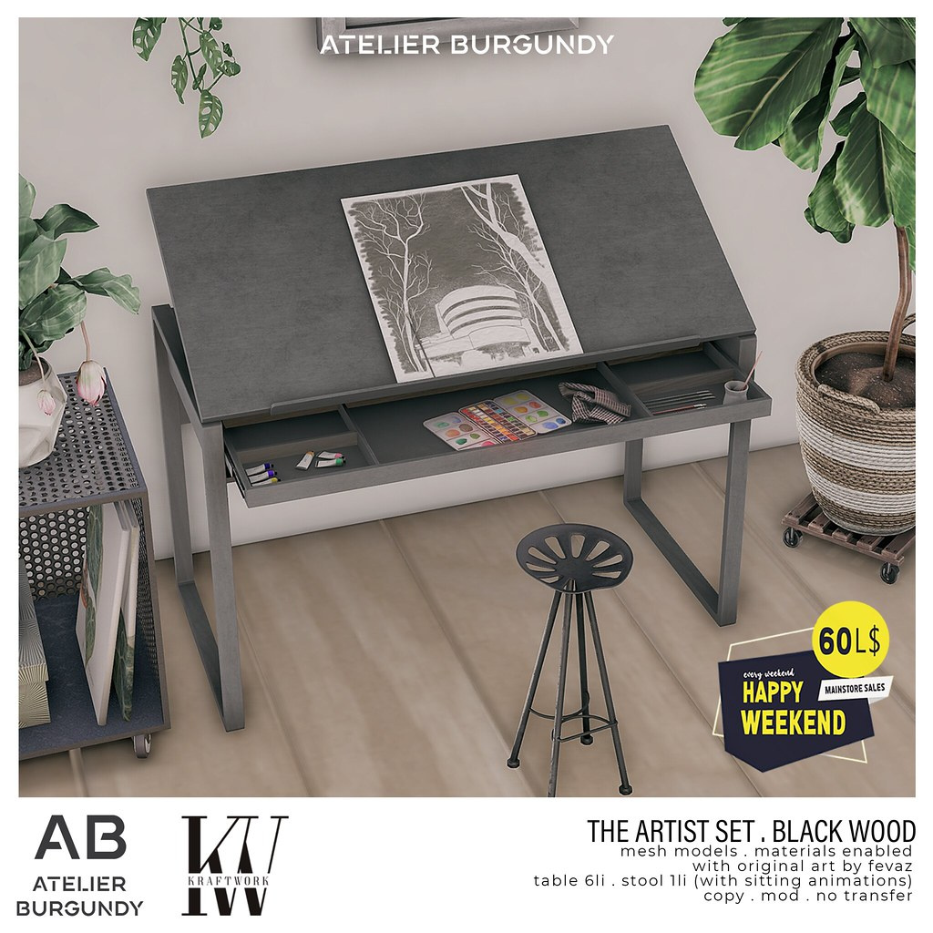 Atelier Burgundy + KraftWork . Artist Set Black