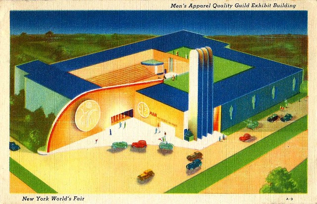 1940 New York World's Fair Postcard, Men's Apparel Quality Guild Exhibit Building, Made By Grinnell Litho Company, Made Exclusively For The Exposition Souvenir Corporation