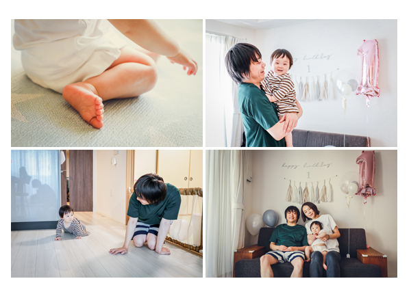 1歳のお誕生日記念の家族写真 ご自宅へ出張撮影