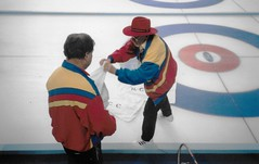 Shorty (the Icemaker) Repairing a Crack in the Ice at 1996 World Curling Championships in Hamilton