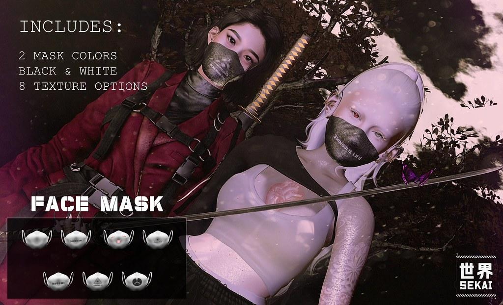+SEKAI+ Face Mask – B&W – Anxious Weekend