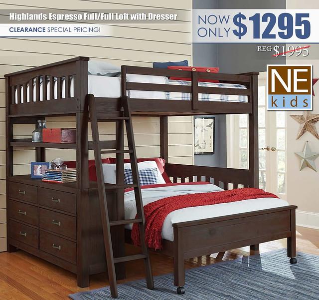 NE Kids Highlands Espresso Full Full Loft Bed with Dresser