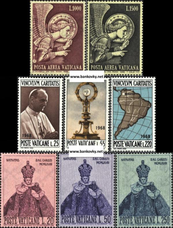 Známky Vatikán 1968, 3 kompletné MNH série