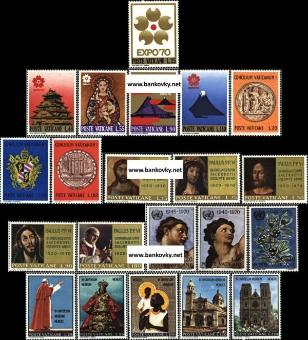 Známky Vatikán 1970, kompletný ročník MNH