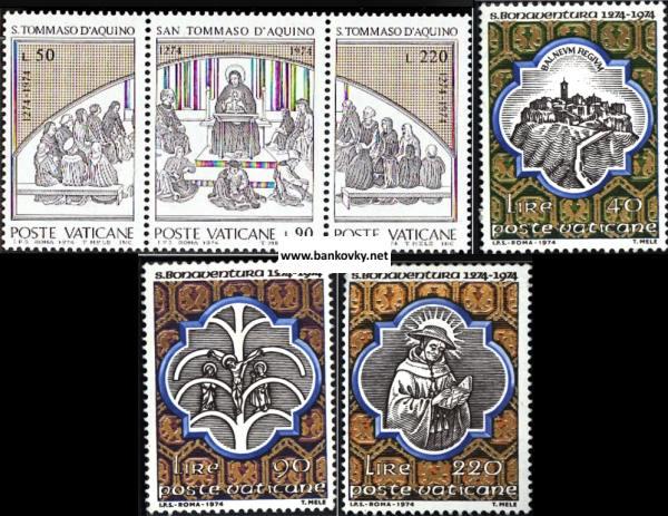 Známky Vatikán 1974 Sv. Tomáš a Bonaventura kompl. série MNH