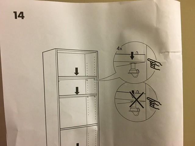 IKEA BILLY說明書這頁我看不太懂,是指層板不要斜插嗎?