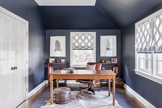 Architectural interiors photography of a dark blue office in a Riverside, Connecticut home. | by Andy Ryan Photographer LLC