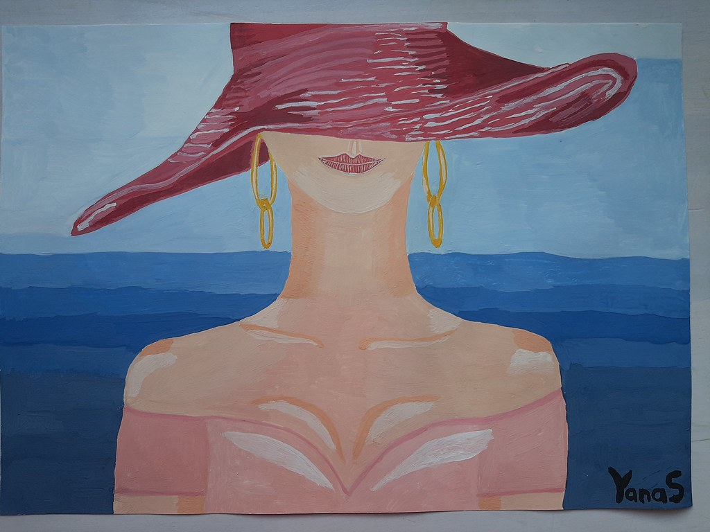 Lady in hat on the beach painting