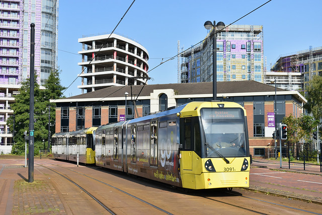 Manchester Metrolink Bombardier Flexity Swift M5000 No.3091 - Salford Quays Tram Stop