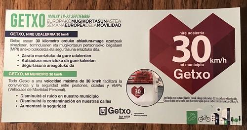Apoyando Bilbao y Getxo con velocidad máxima de 30 km/h en todas sus calles y carreteras