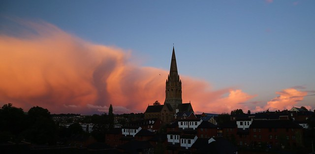 Dawn cumulonimbus to the west of Exeter