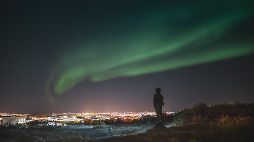 Aurora over the city / Reykjavik