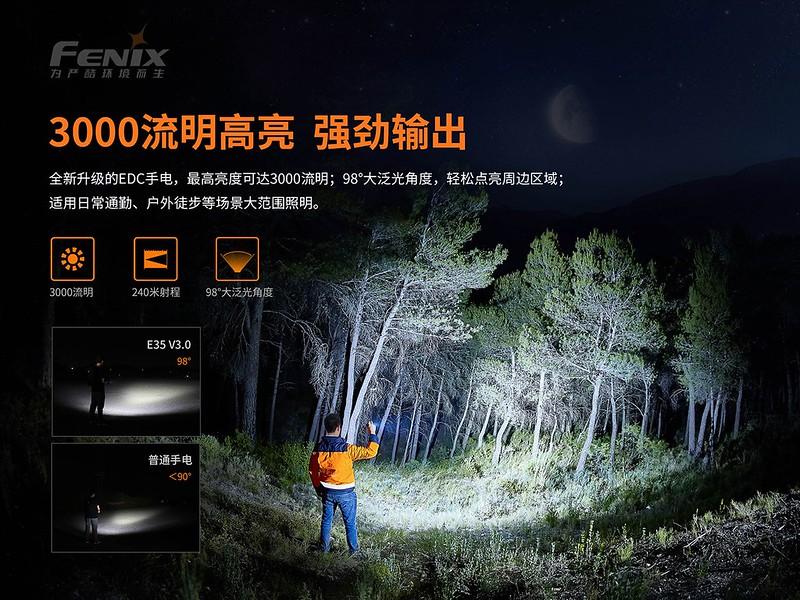 FENIX E35 V3.0 3000流明 超亮便攜EDC手電筒  -2