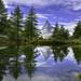Mountain and lake view with reflection - Grindjisee lake - Zermatt - Wallis - Switzerland