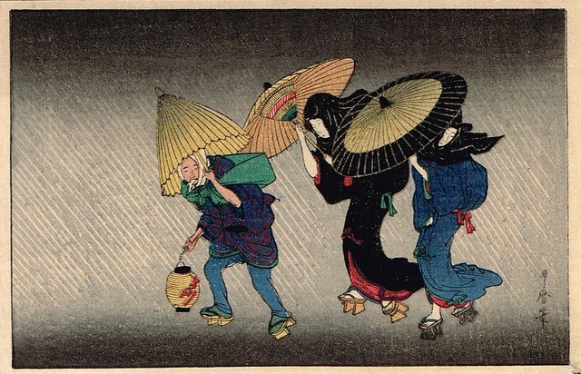Two Geisha and Porter in Wind and Rain at Night by Kitagawa Utamaro.
