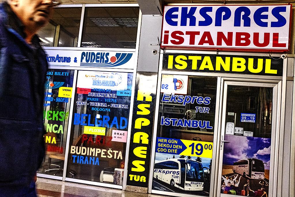 EKSPRES ISTANBUL advertised at bus station on 9-23-20--Skopje