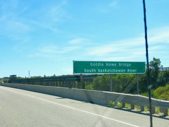 Day 2 -  Kindersley SK to Melfort Sk - Bridge named after Canadian hockey legend, Gordie Howe, near Saskatoon