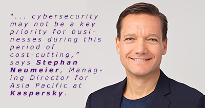 "Stephan Neumeier, Managing Director for Asia Pacific at Kaspersky shared security tips during a webinar on ""The Cyberthreat Landscape for SMBs in Singapore""."
