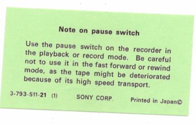 SONY TC55 User Manual documentation