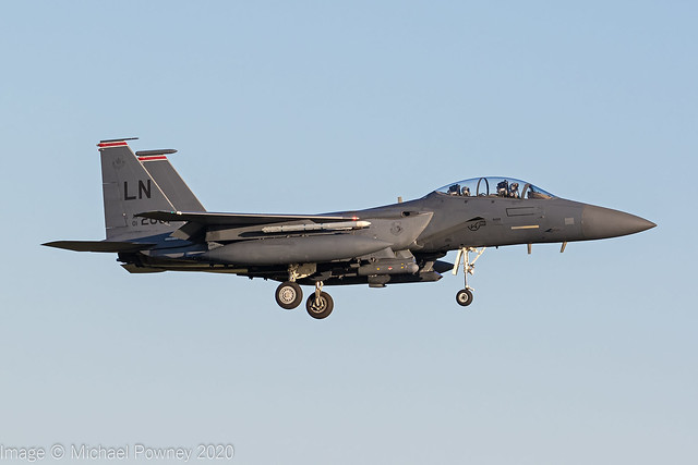 01-2001 - 2001 fiscal McDonnell Douglas F-15E Strike Eagle, on approach to Runway 24 at Lakenheath