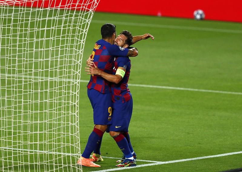 Lionel Messi(右)與Luis Suarez(左)。(達志影像資料照〉
