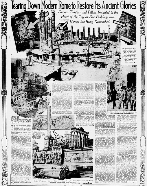"""ROMA ARCHEOLOGICA & RESTAURO ARCHITETTURA 2020. News from Rome – the Imperial Fora, in: """"Tearing down modern Rome to restore Its ancient glories."""" New Britain Herald, New Britain, Conn. (24 March 1930) &  The Sunday Star, Wash. D.C., (12 Mar. 1933)."""