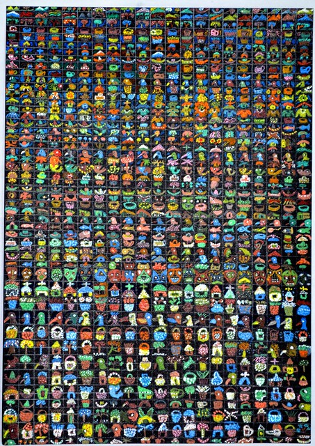 1029 Miniature paintings on a single A4 size paper card