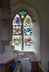 steps to rood loft and heraldic glass (Powell & Sons, 1920s)