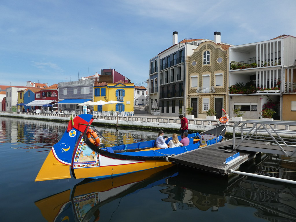 Brightly painted boats in Aveiro