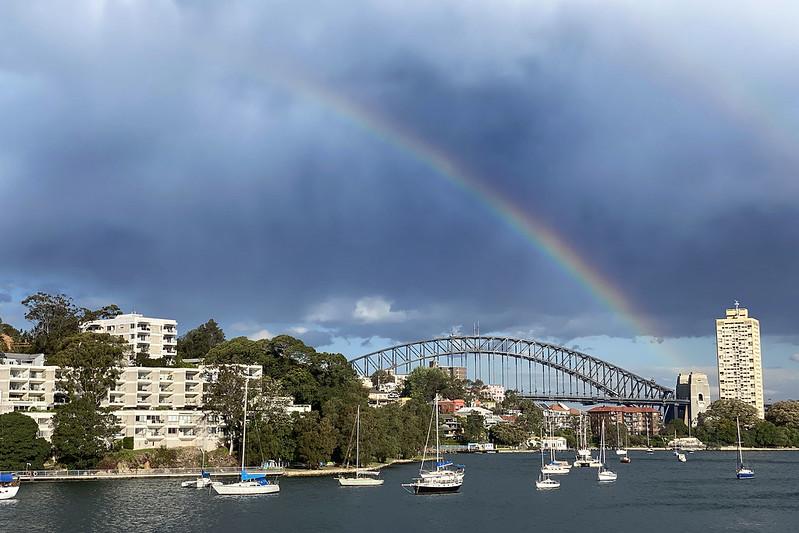 Rainbow storm over Sydney